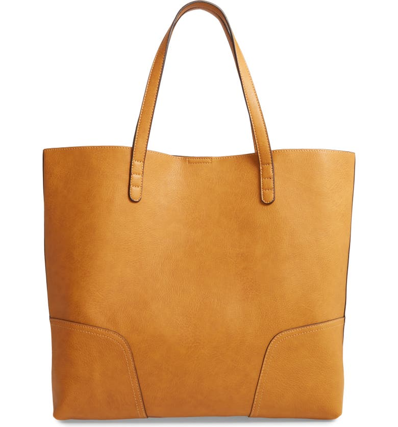 SOLE SOCIETY Lilyn Faux Leather Tote, Main, color, MARIGOLD