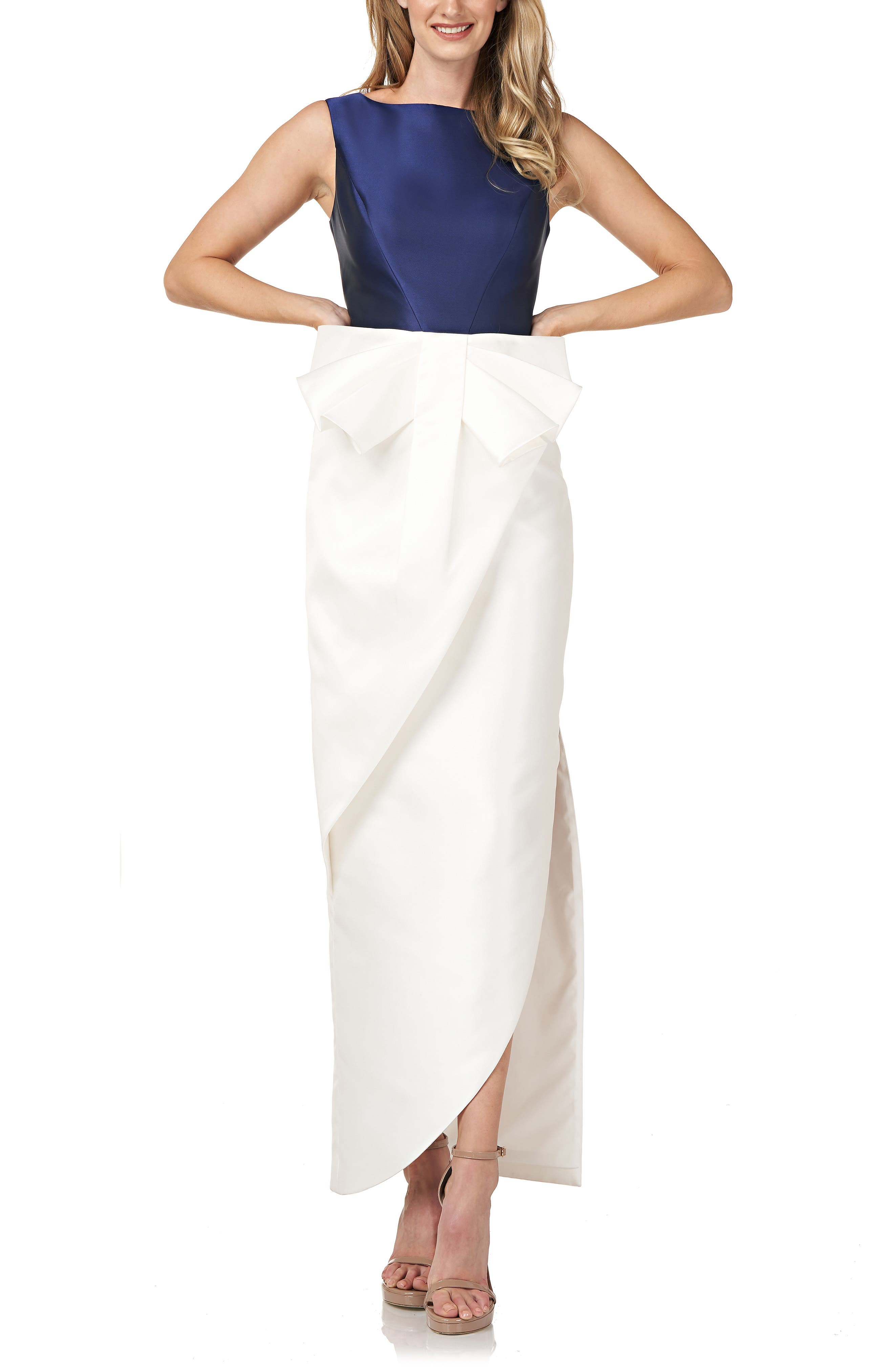 Haley Two-Tone Satin Bow Front Gown