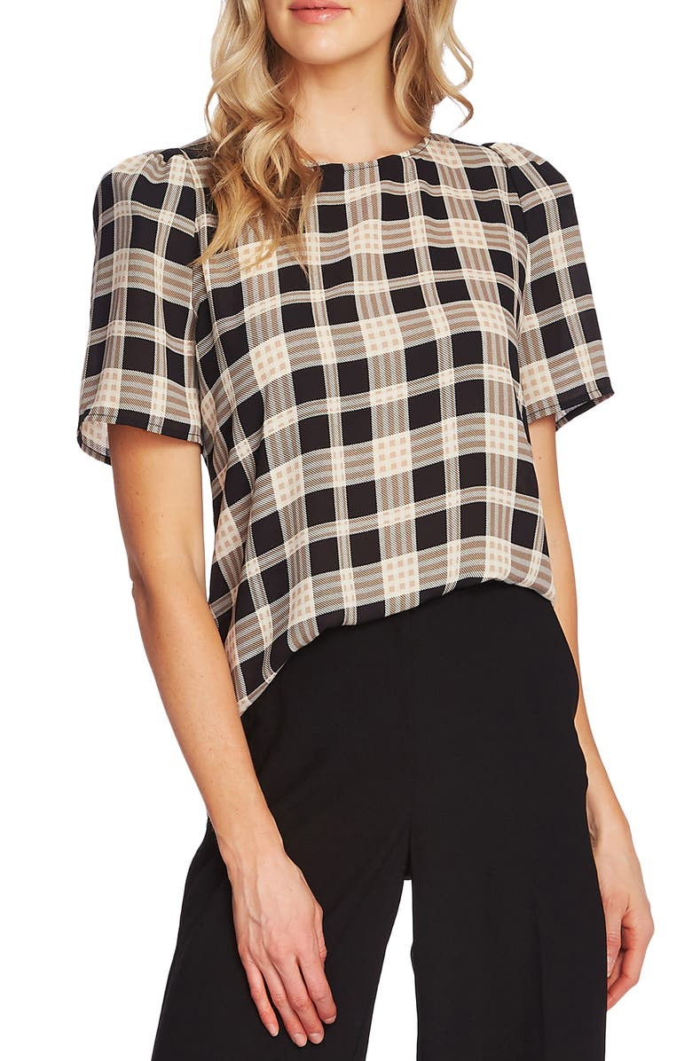 VINCE CAMUTO Highland Plaid Short Sleeve Blouse, Main, color, RICH BLACK