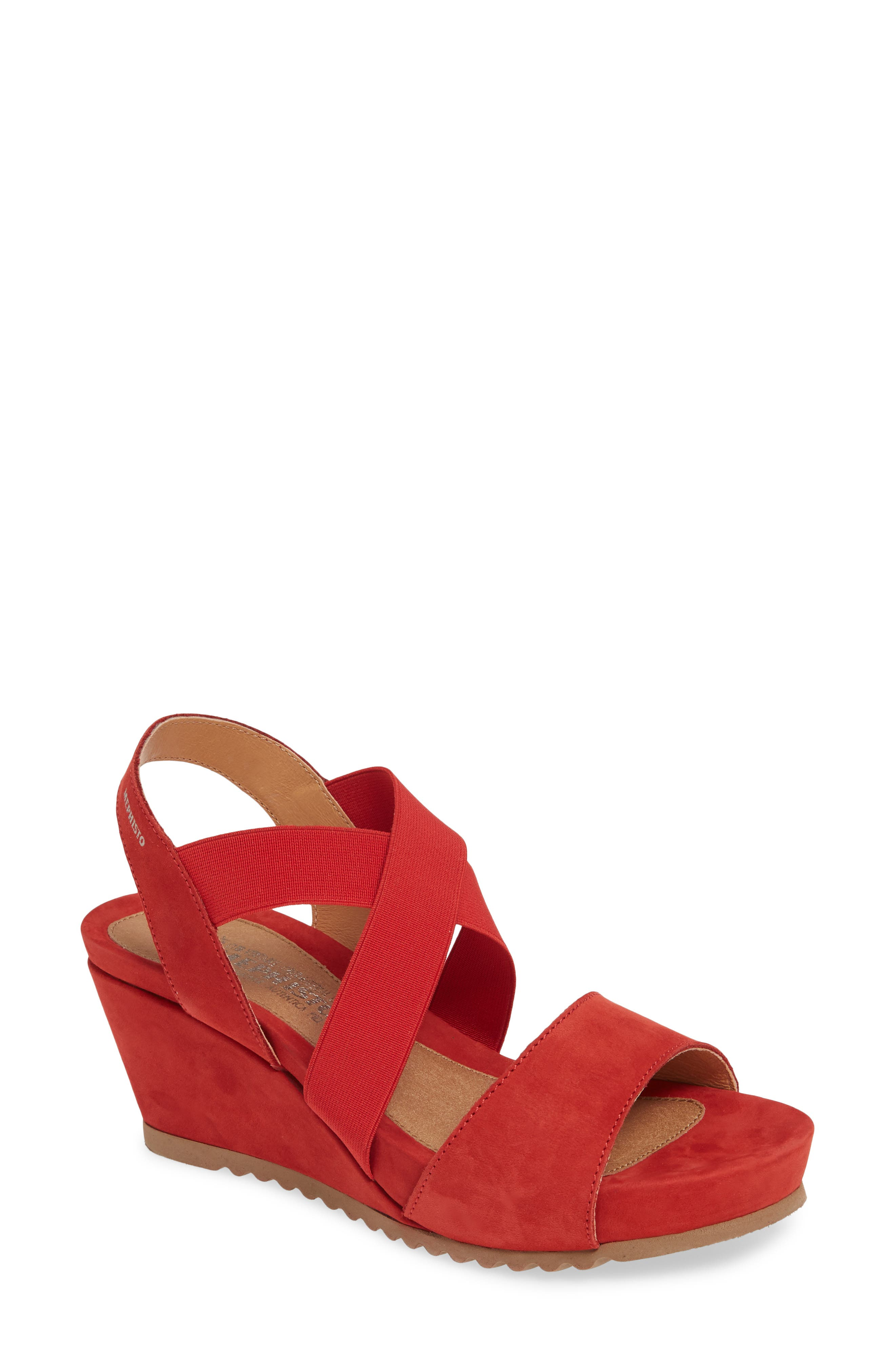 Mephisto Giuliana Wedge Sandal, Red