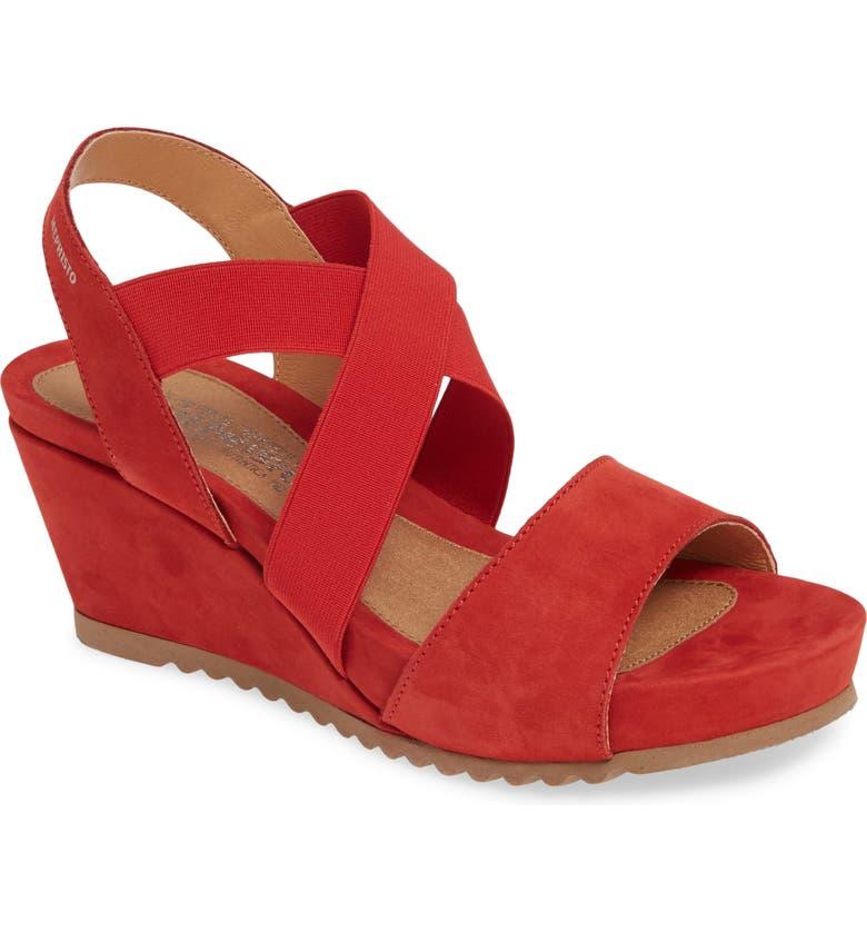 MEPHISTO Giuliana Wedge Sandal, Main, color, SCARLET NUBUCK