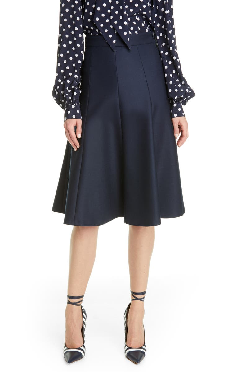 MICHAEL KORS COLLECTION Flare Stretch Wool Skirt, Main, color, MIDNIGHT