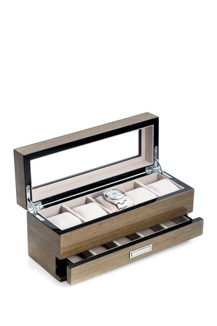 Image of Bey-Berk Lacquered Wood Gray Watch Box