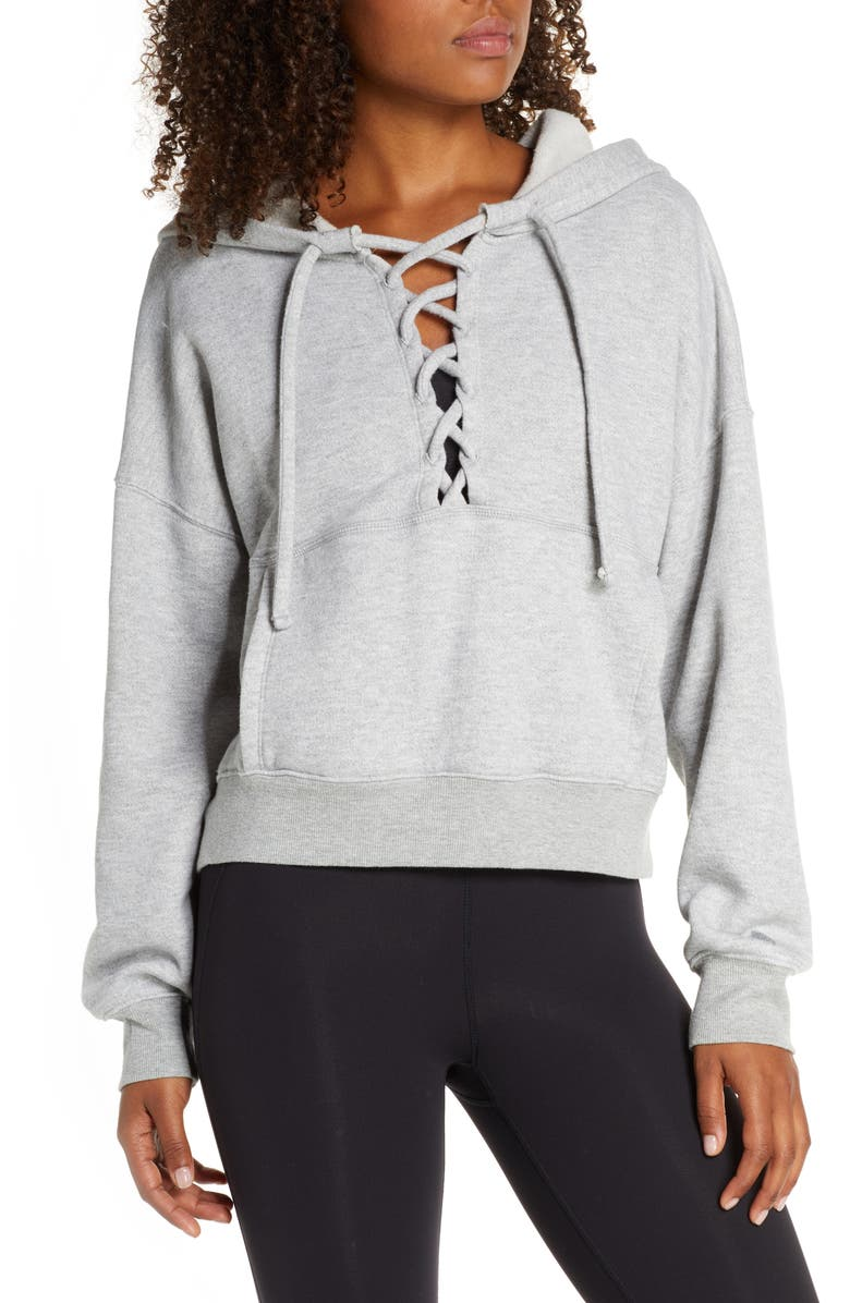 FREE PEOPLE FP MOVEMENT Believe It Lace-Up Hoodie, Main, color, HEATHER GREY