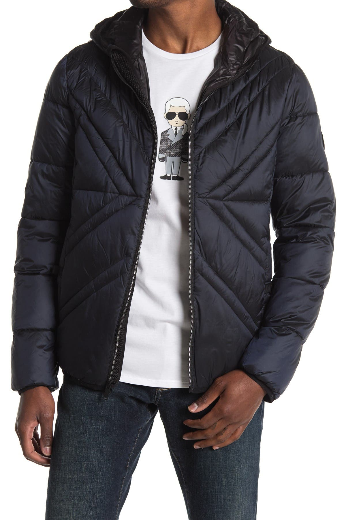 x Quilted Full Zip Hooded Jacket