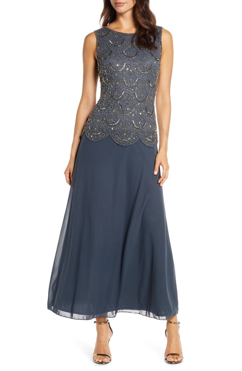 PISARRO NIGHTS Beaded Mock Two-Piece Gown, Main, color, SLATE