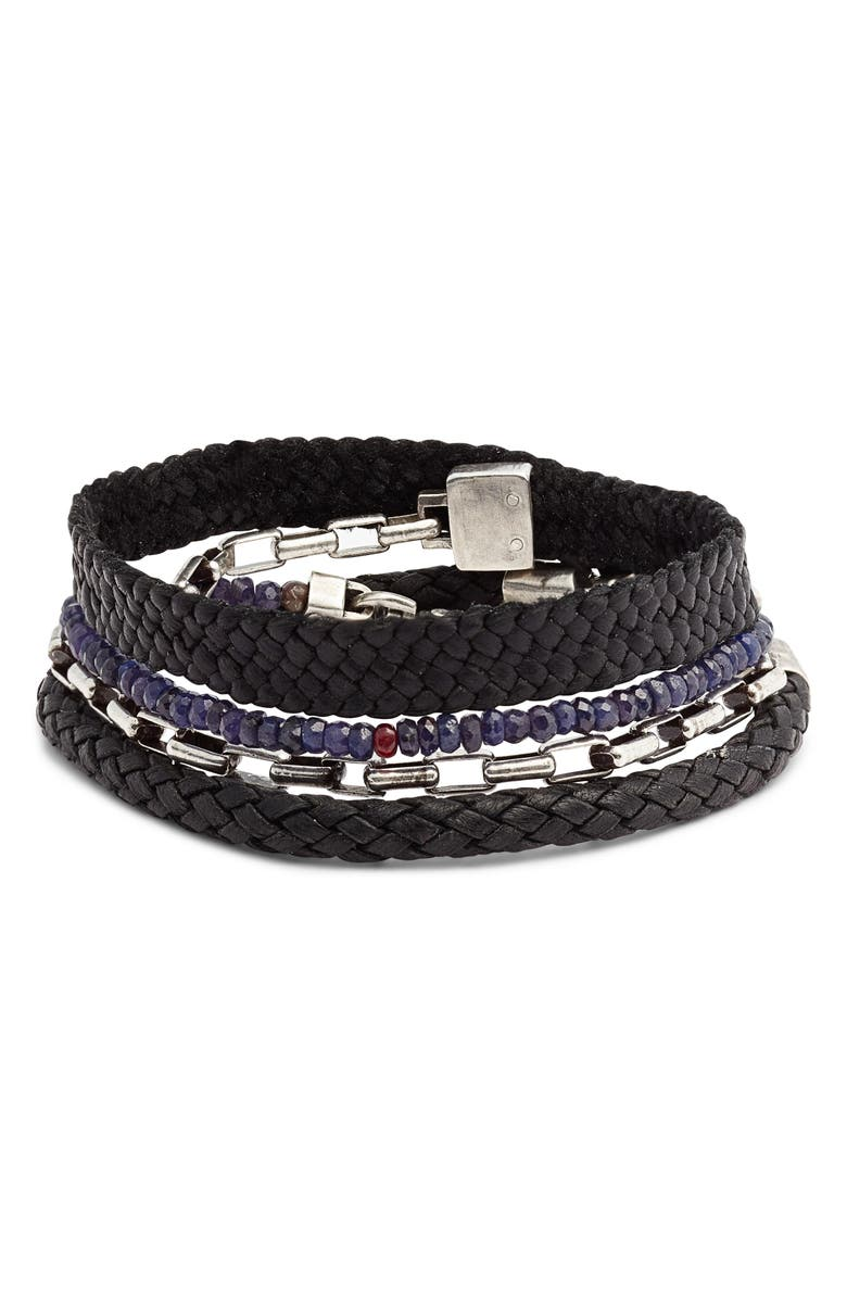 TITLE OF WORK Wrap Bracelet, Main, color, BLACK