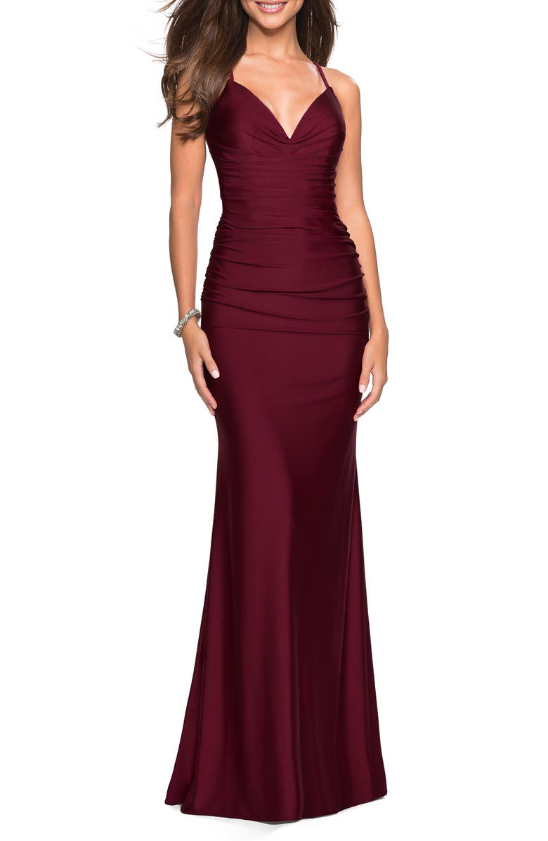 LA FEMME Strappy Back Ruched Trumpet Gown, Main, color, DARK BERRY