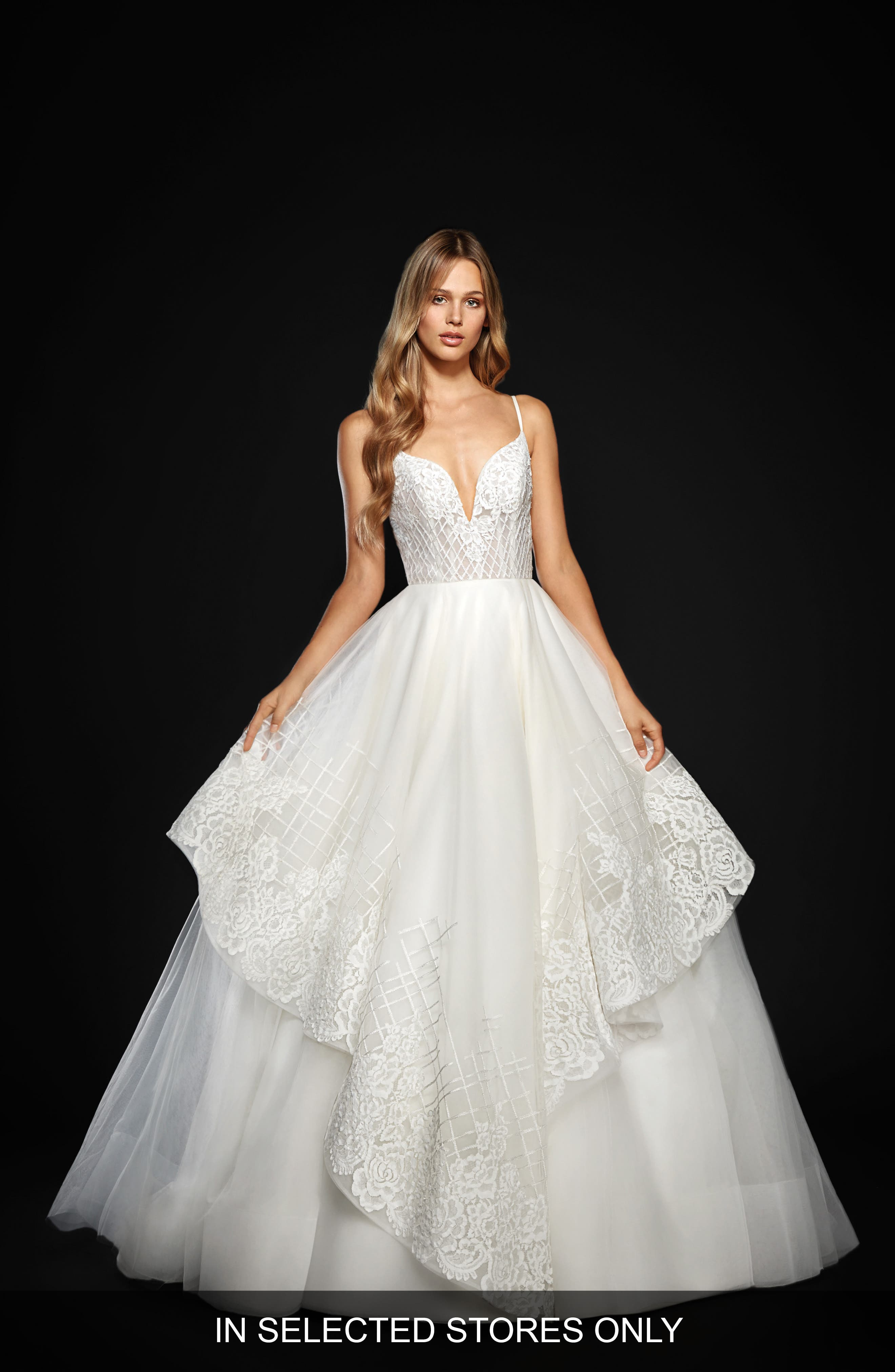 Hayley Paige Hollis Floral Trellis Embroidered Tulle Ballgown