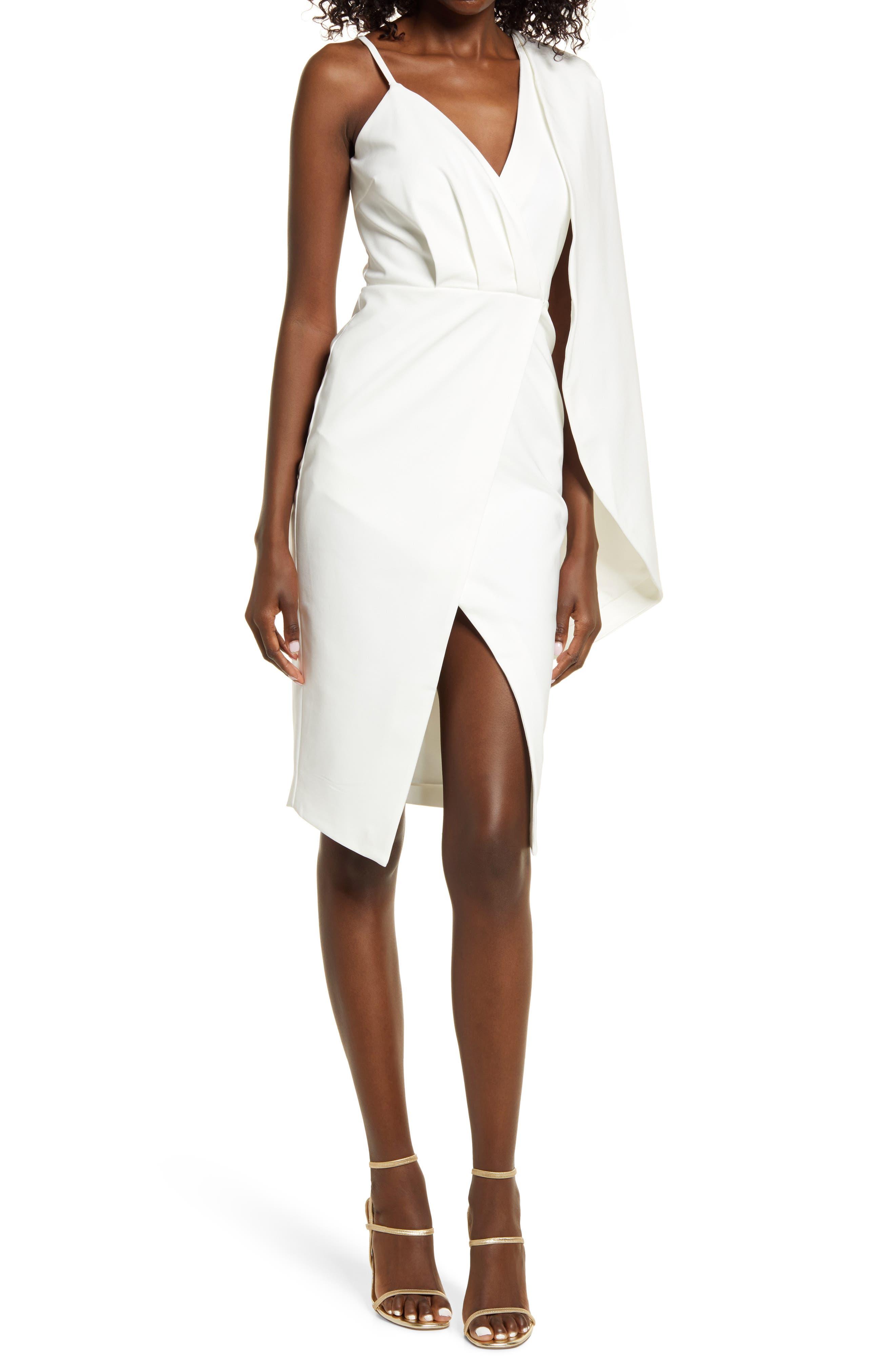 One-Shoulder Cape Sleeve Cocktail Sheath Dress