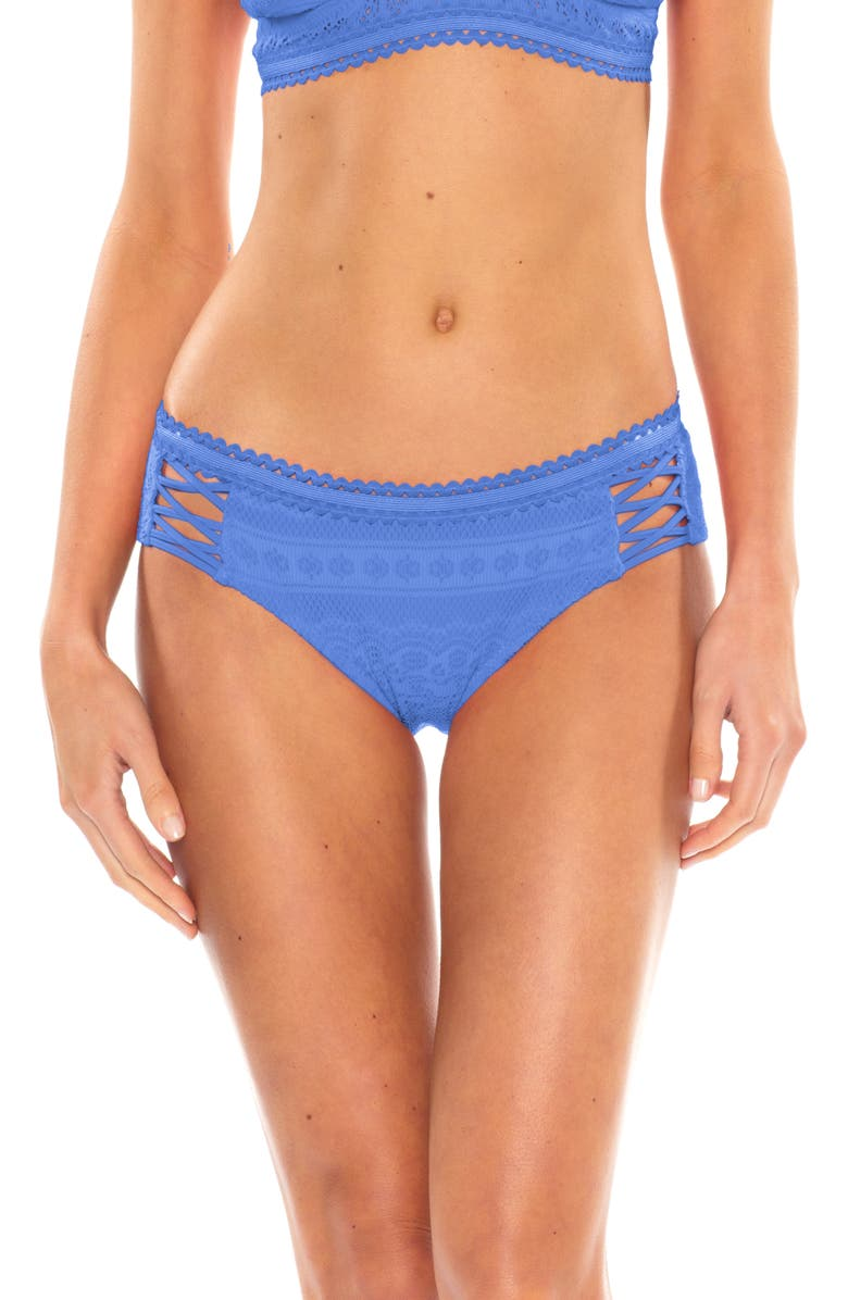 BECCA Color Play Lace-Up Hipster Bikini Bottoms, Main, color, 407