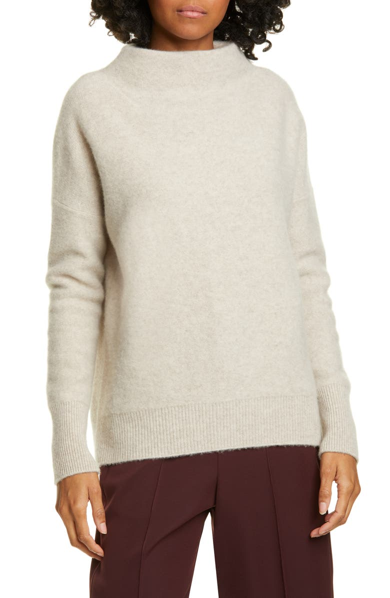 VINCE Boiled Cashmere Funnel Neck Pullover, Main, color, MARBLE