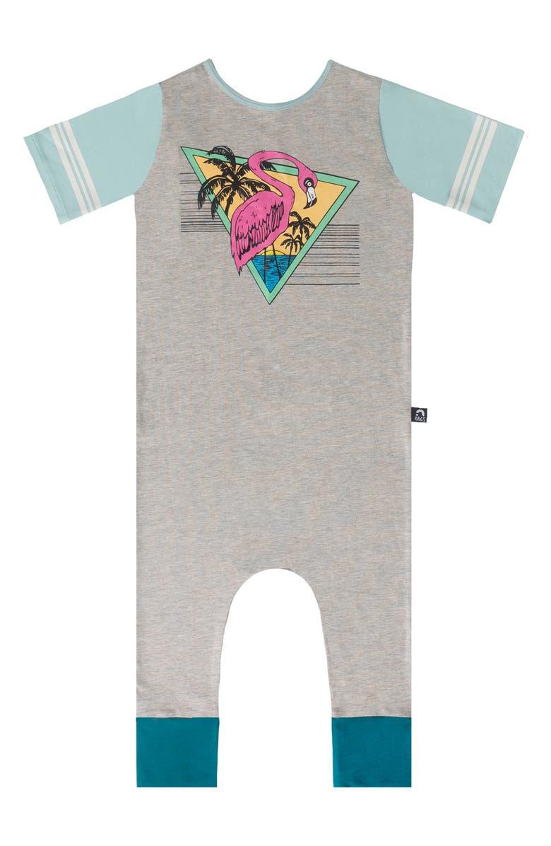 RAGS Flamingo Short Sleeve Romper, Main, color, HEATHER GREY