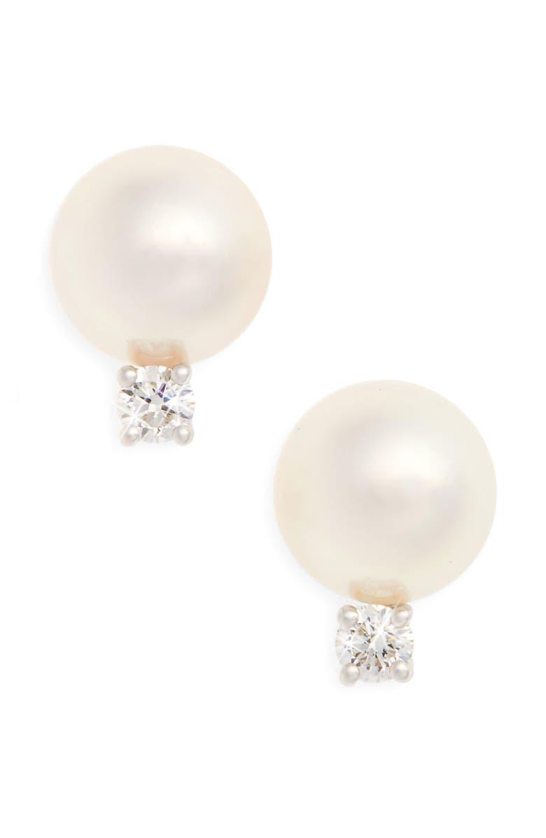 MIKIMOTO Akoya Pearl & Diamond Stud Earrings, Main, color, 710