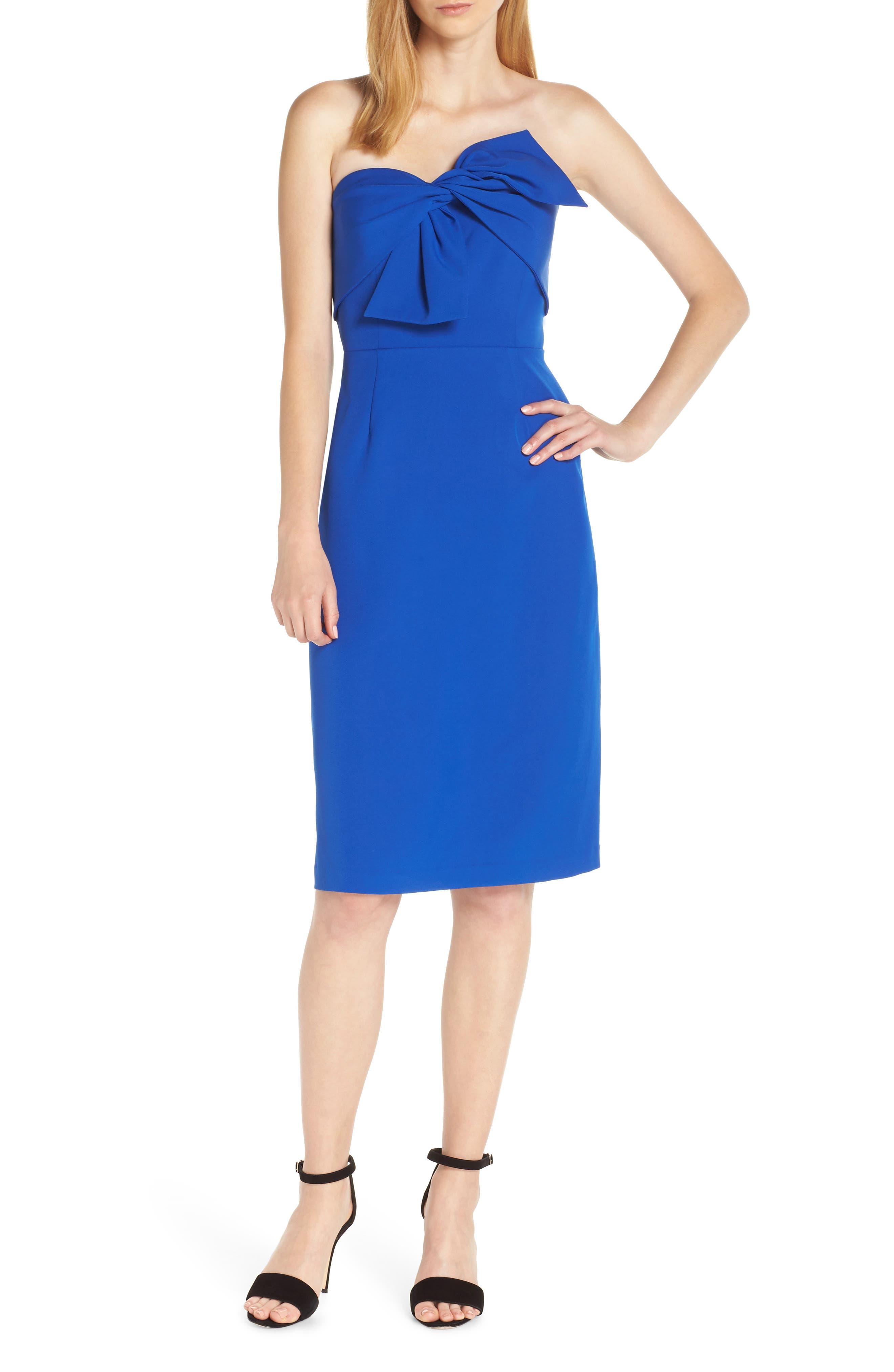 Sam Edelman Strapless Bow Detail Sheath Dress, Blue