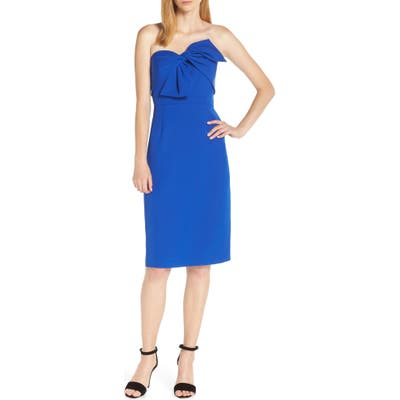 Sam Edelman Strapless Bow Detail Sheath Dress, Blue