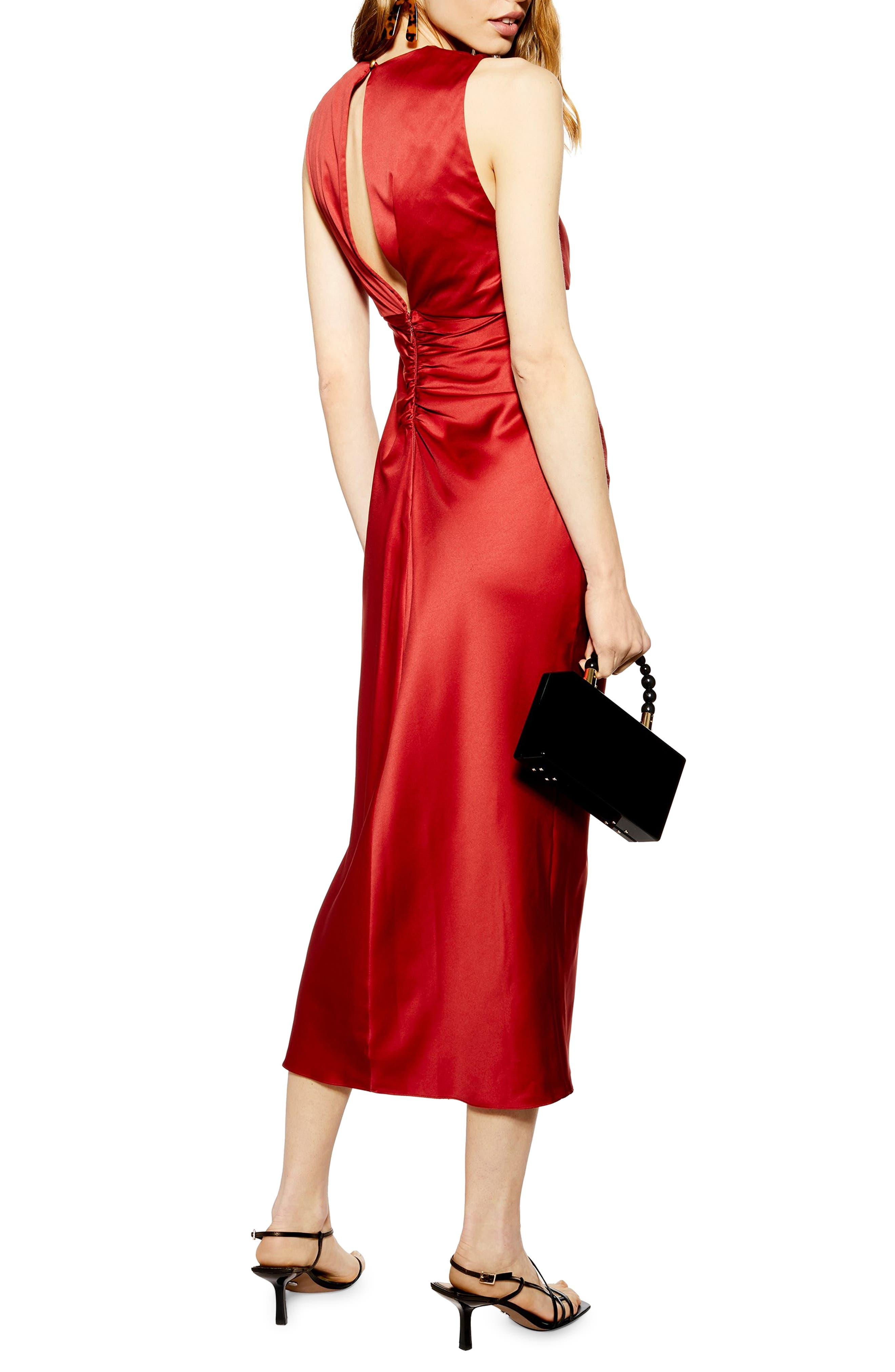 ,                             Ruched Button Satin Midi Dress,                             Alternate thumbnail 2, color,                             DARK RED