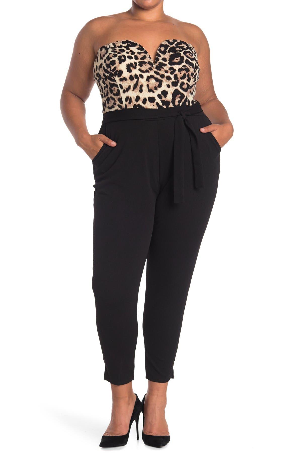 Curvy Sense Leopard Waist Tie Jumpsuit