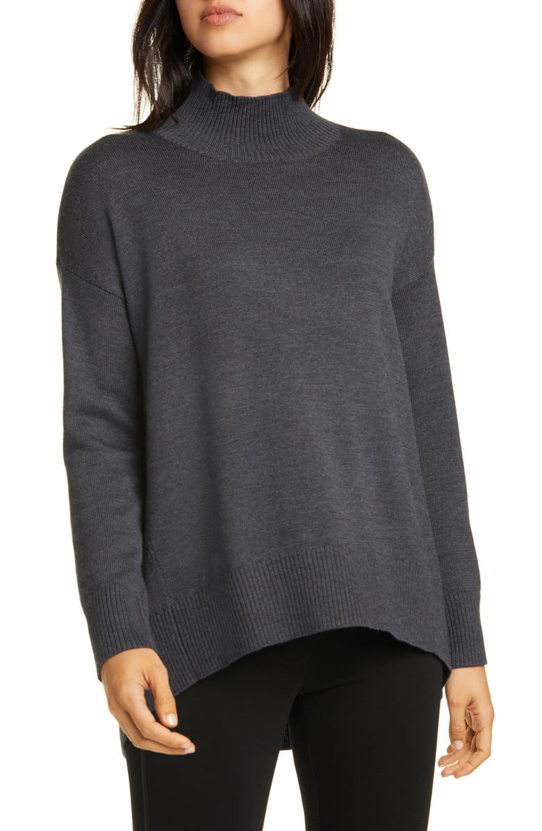 EILEEN FISHER Mock Neck Oversize Sweater, Main, color, CHARCOAL