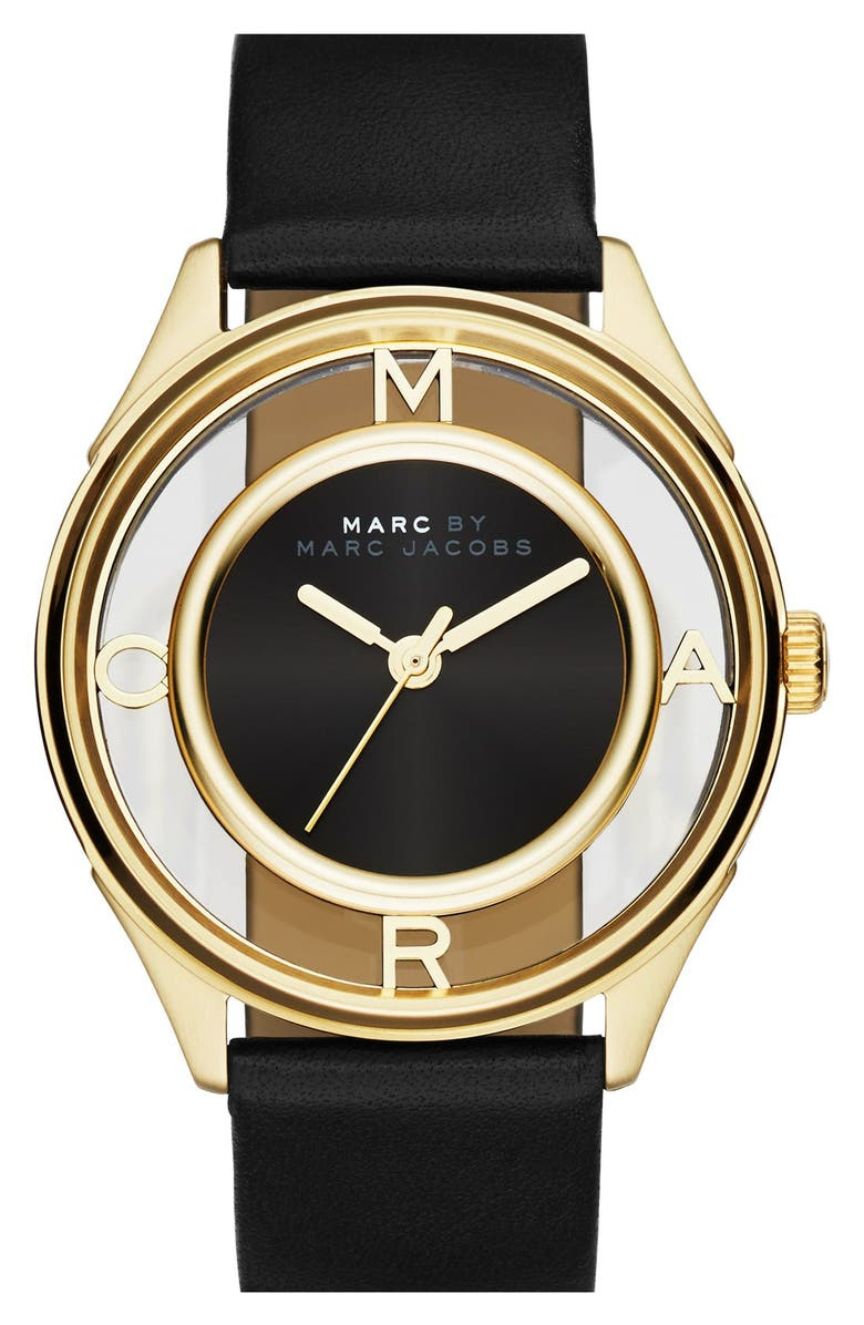 MARC JACOBS 'Tether' Skeleton Leather Strap Watch, 36mm, Main, color, 001