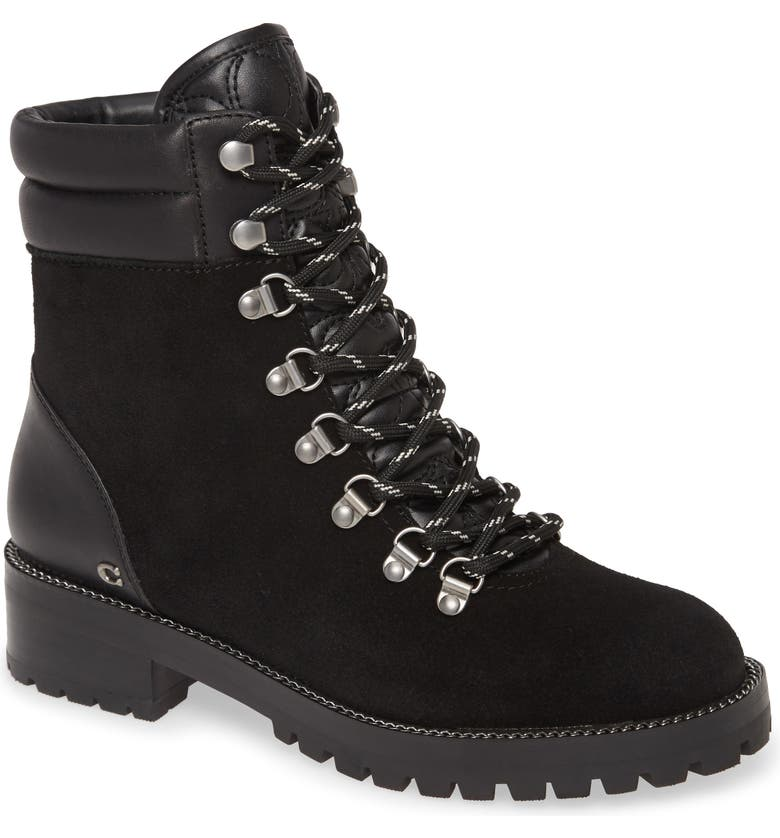COACH Lorren Hiker Boot, Main, color, BLACK SUEDE/ LEATHER