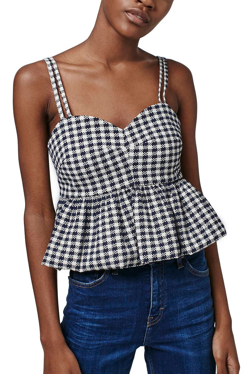TOPSHOP Gingham Check Peplum Tank, Main, color, 100