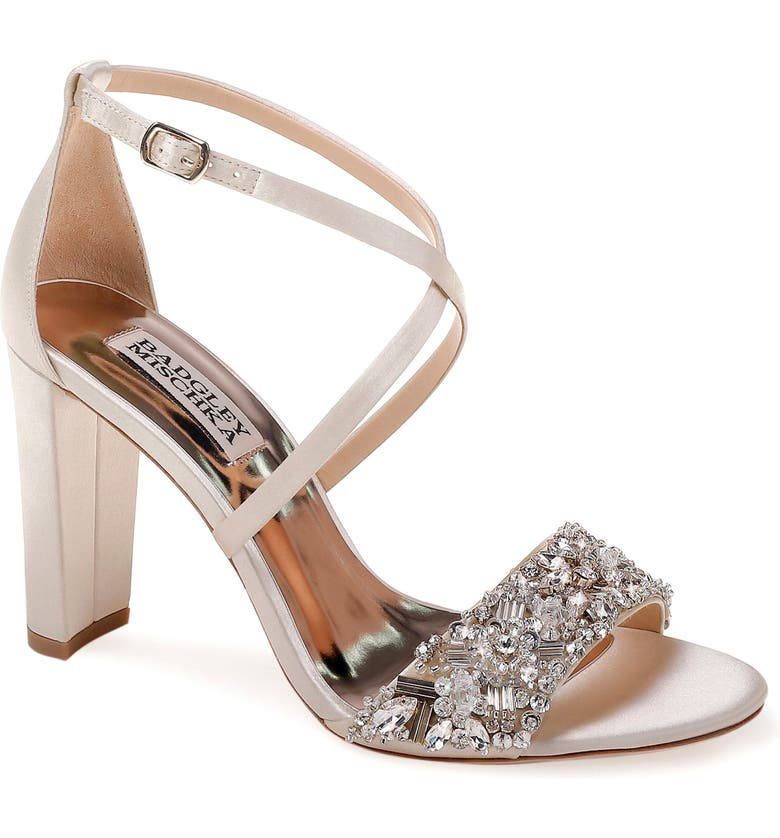BADGLEY MISCHKA COLLECTION Badgley Mischka Sandra Strappy Sandal, Main, color, IVORY SATIN