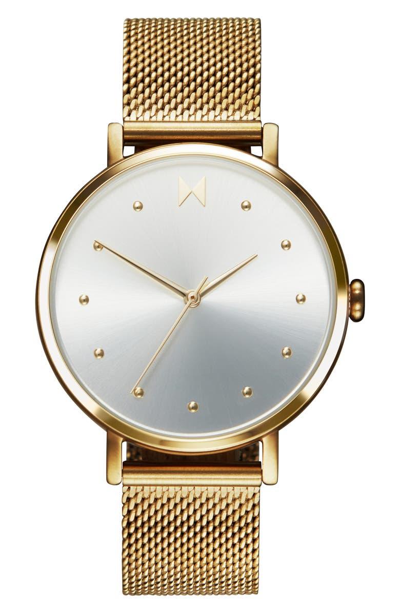 MVMT Dot Mesh Strap Watch, 36mm, Main, color, GOLD/ WHITE/ GOLD
