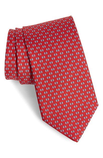 Salvatore Ferragamo Lympic Dumbbells Silk Tie, Red In F.rosso