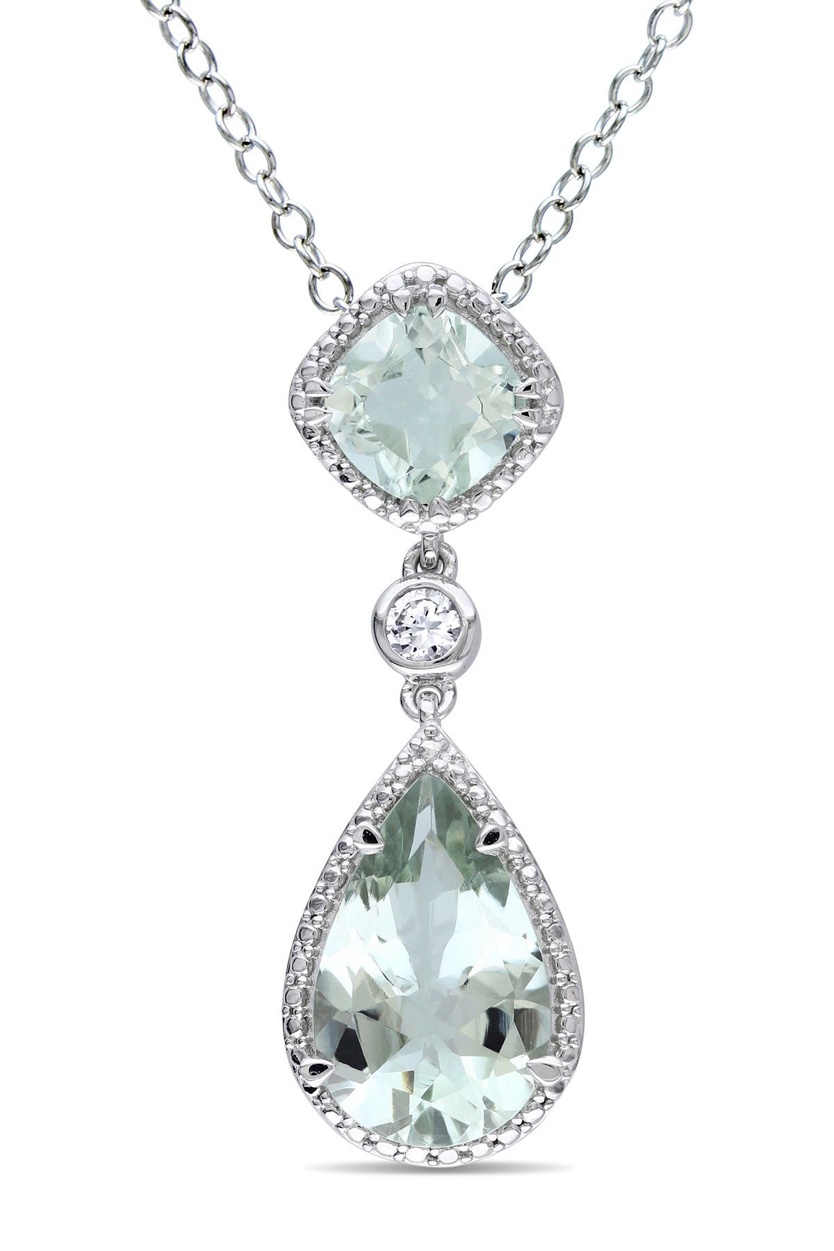 Image of Delmar Sterling Silver Double Green Amethyst & Created White Sapphire Halo Pendant Necklace