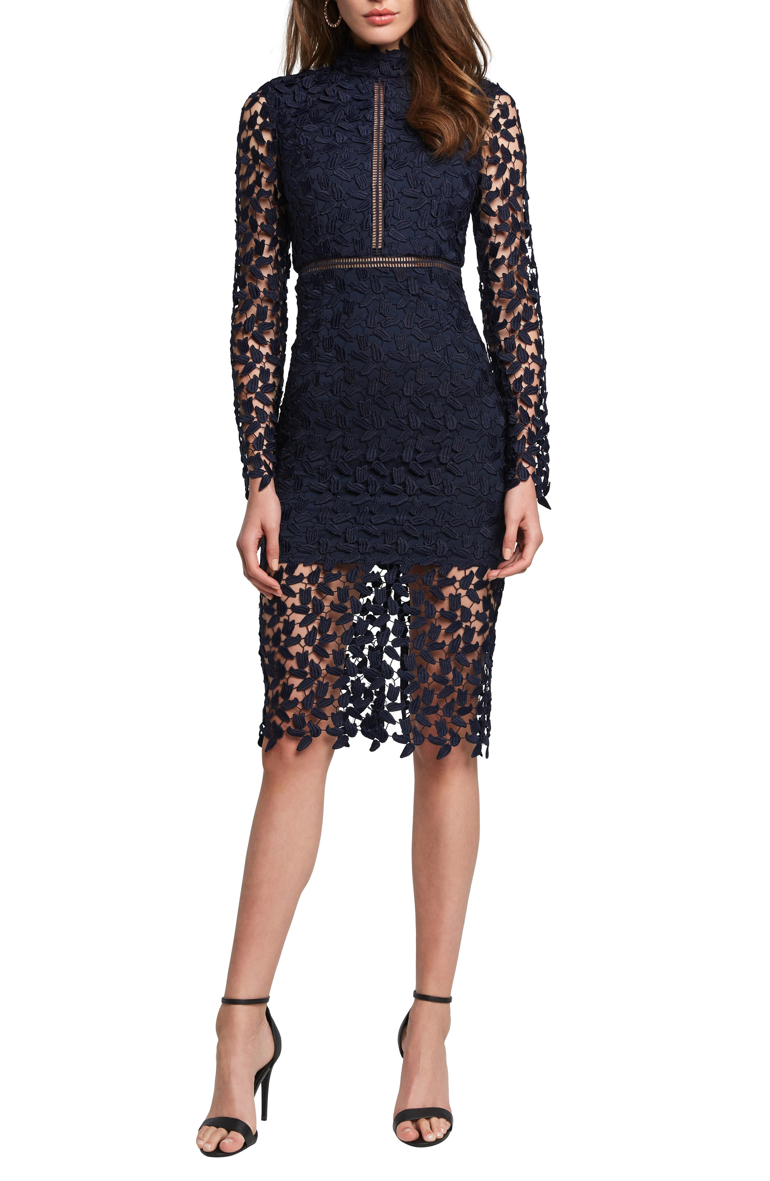 Bardot Alberta Lace Long Sleeve Body-Con Dress