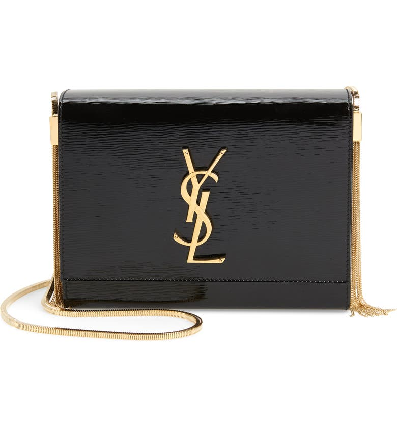 SAINT LAURENT Boxy Kate Calfskin Leather Shoulder Bag, Main, color, NOIR