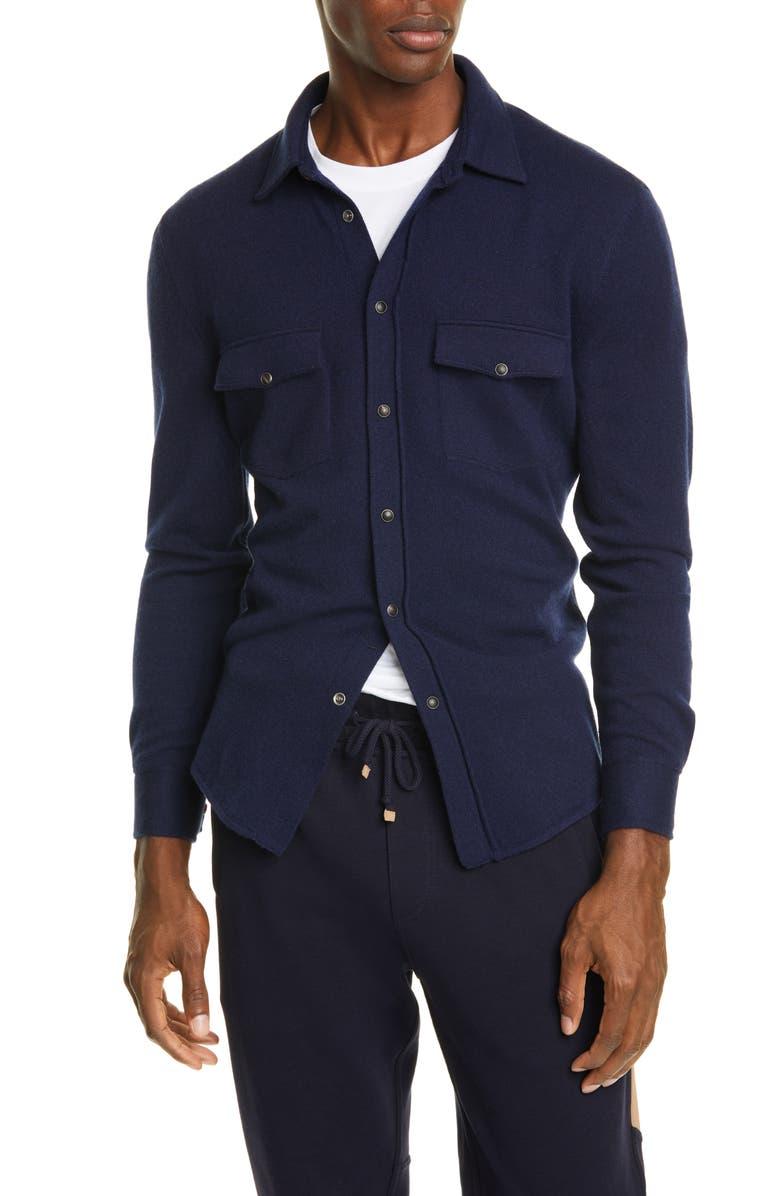 BRUNELLO CUCINELLI Wool Blend Western Overshirt, Main, color, 433