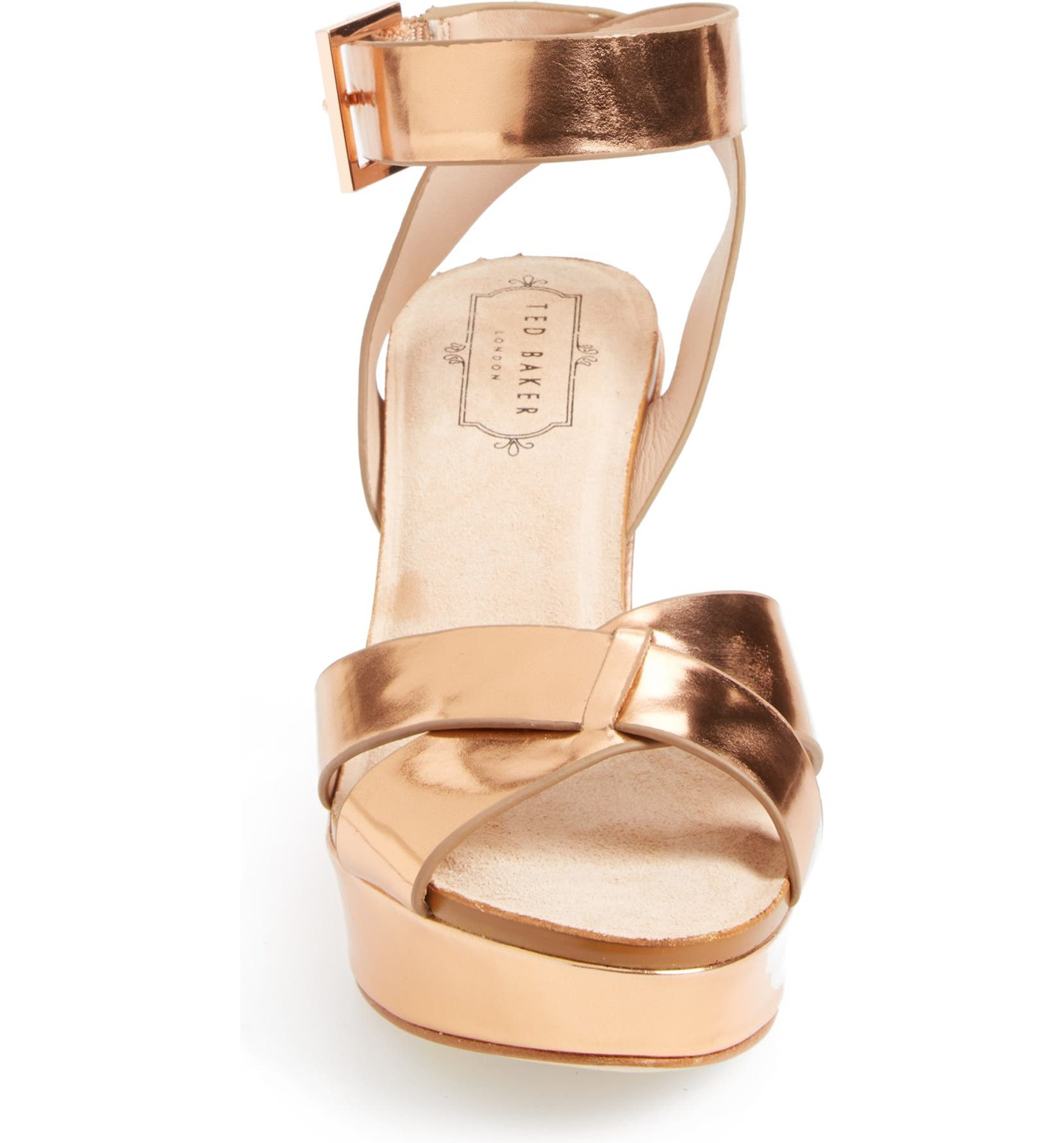 5ac133c6fa Ted Baker London 'Merlotte' Metallic Leather Wedge Sandal (Women)    Nordstrom