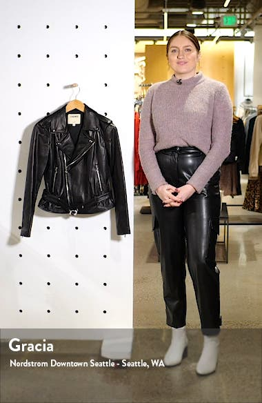 Belted Leather Moto Jacket, sales video thumbnail