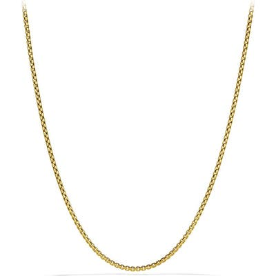 David Yurman Small Box Chain Necklace In 18K Gold, 2.7mm