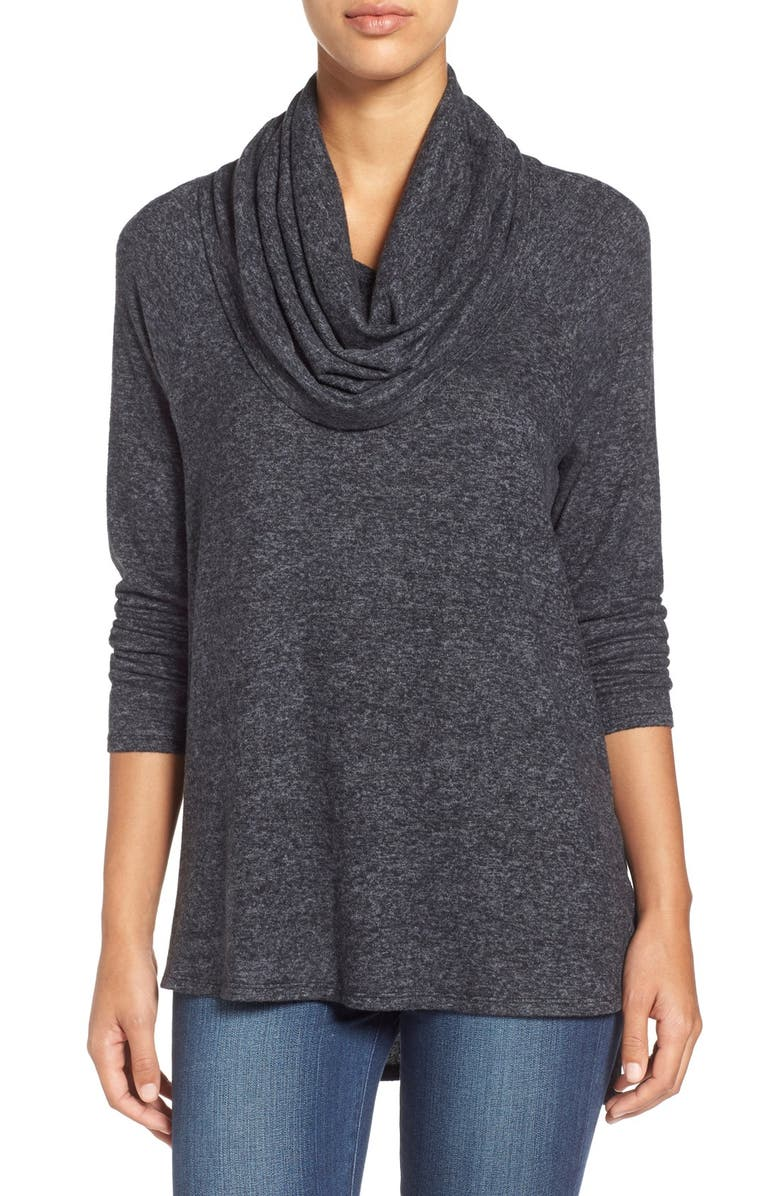 GIBSON Mélange Knit Cowl Neck Top, Main, color, 006