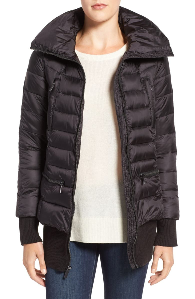 FRENCH CONNECTION Pillow Collar Bomber Jacket, Main, color, 001