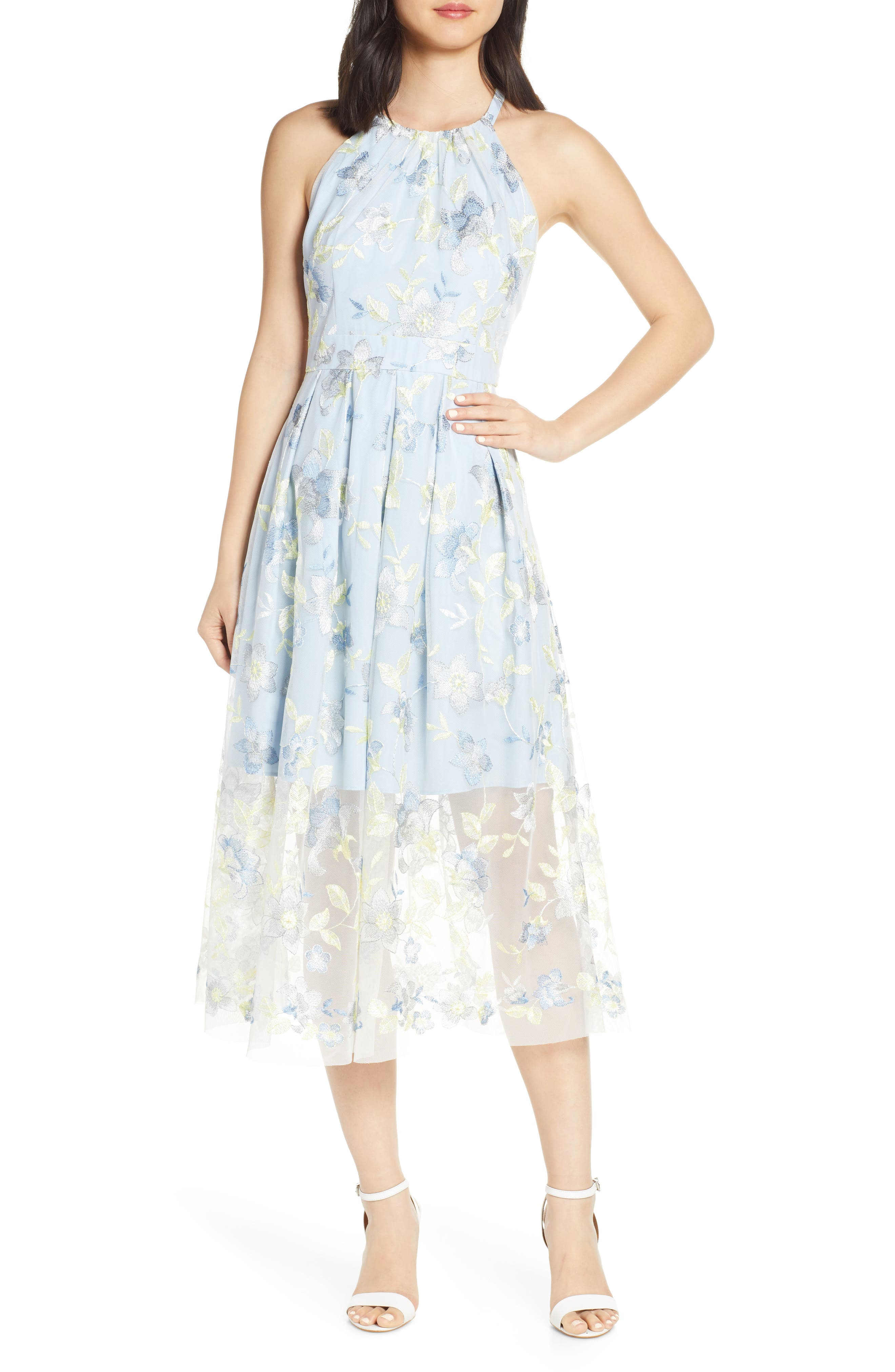 Petite Vince Camuto Embroidered Halter Neck Mesh Midi Dress, Blue