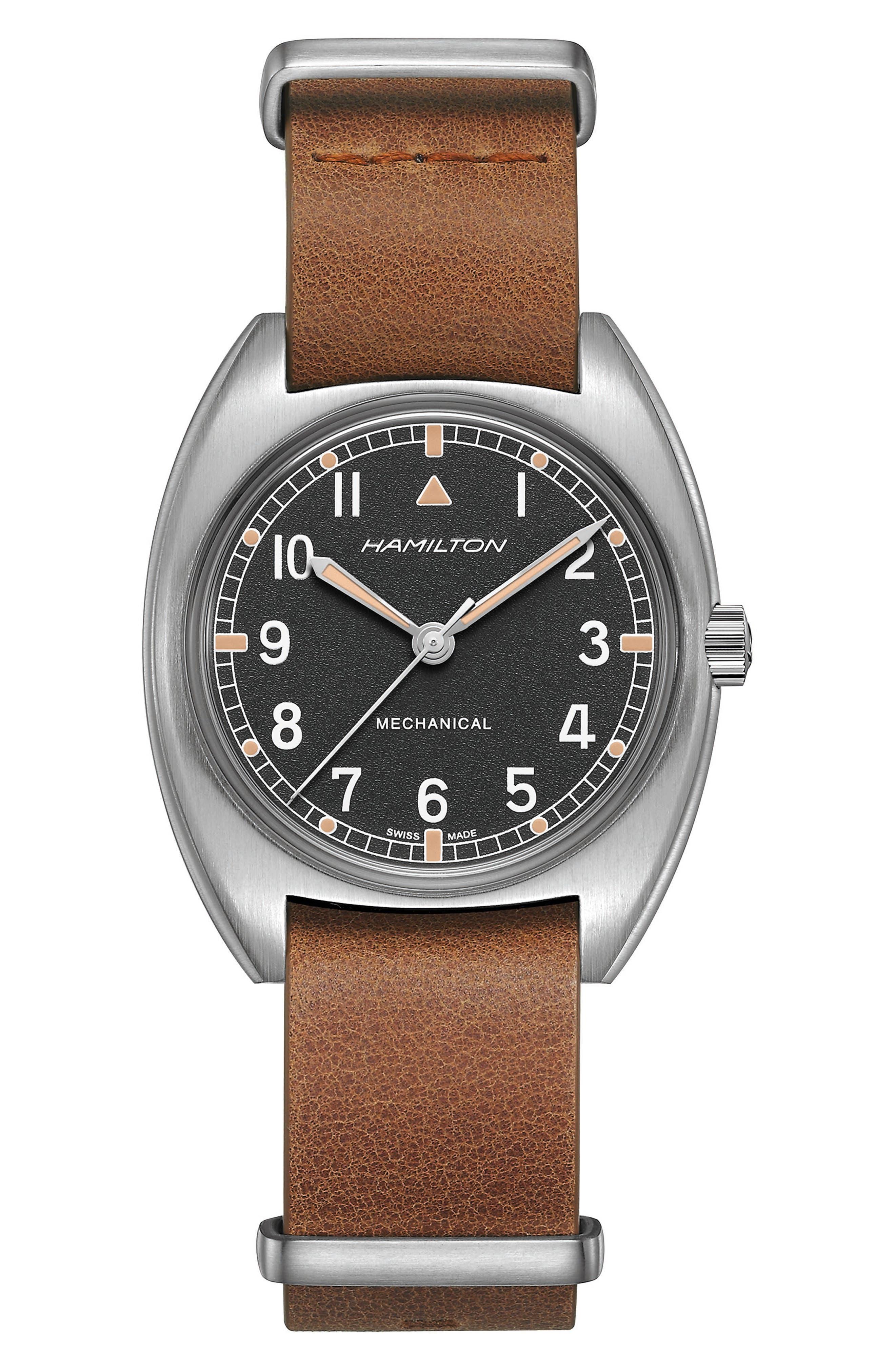 Khaki Aviator Pilot Pioneer Leather Strap Watch