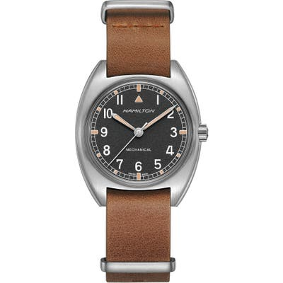 Hamilton Khaki Aviator Pilot Pioneer Leather Strap Watch, X 3m