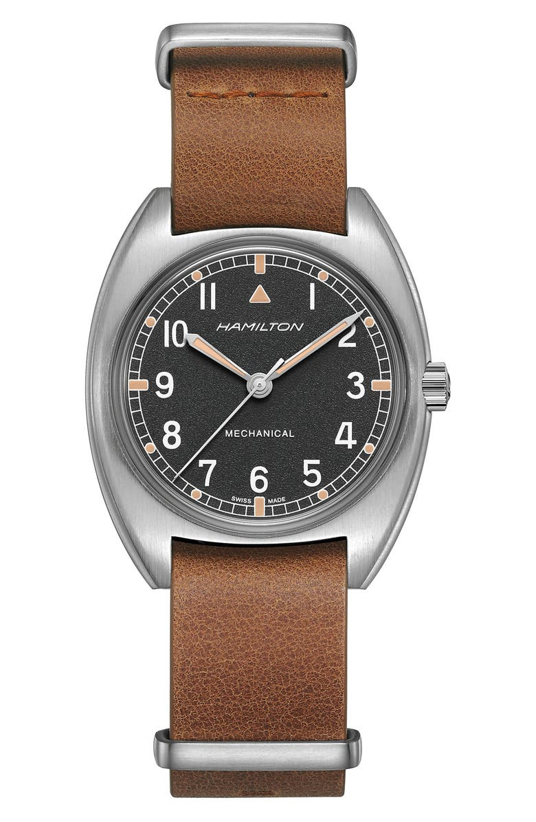 HAMILTON Khaki Aviator Pilot Pioneer Leather Strap Watch, 36mm x 33mm, Main, color, 200