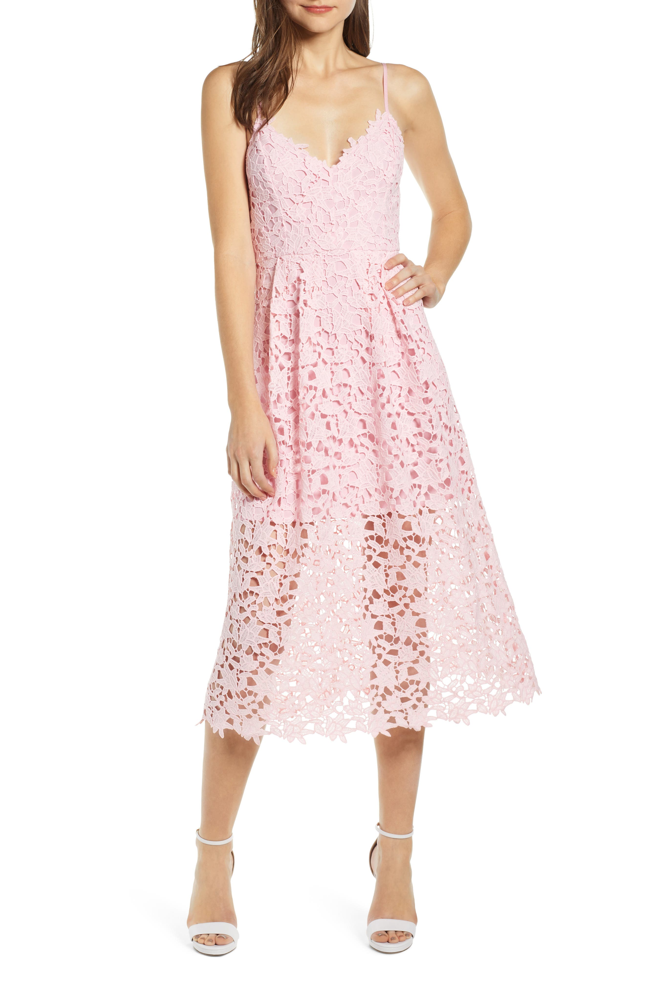 Astr The Label Lace Midi Dress, Pink