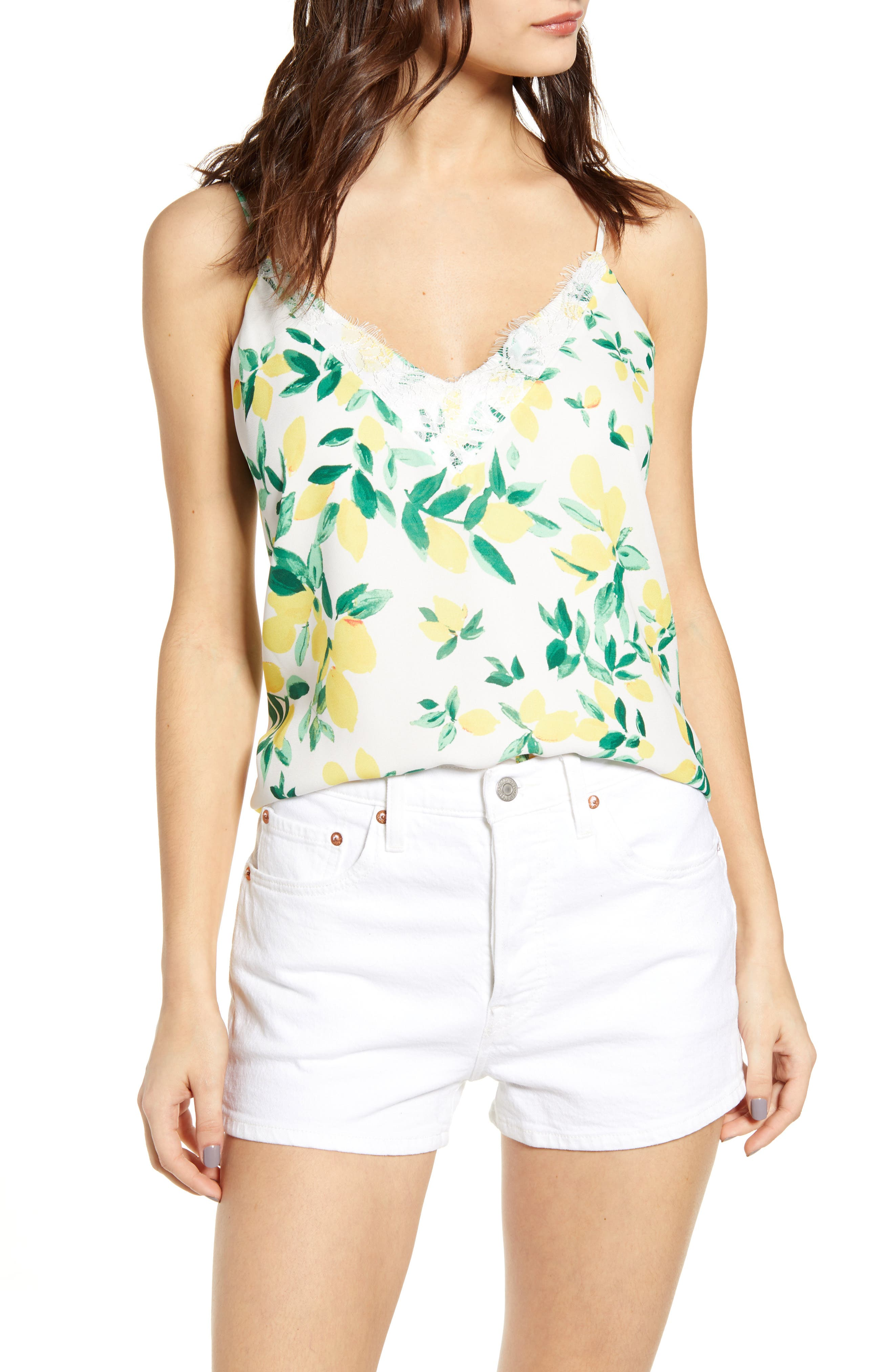 Socialite Lace Trim Camisole Top, Yellow