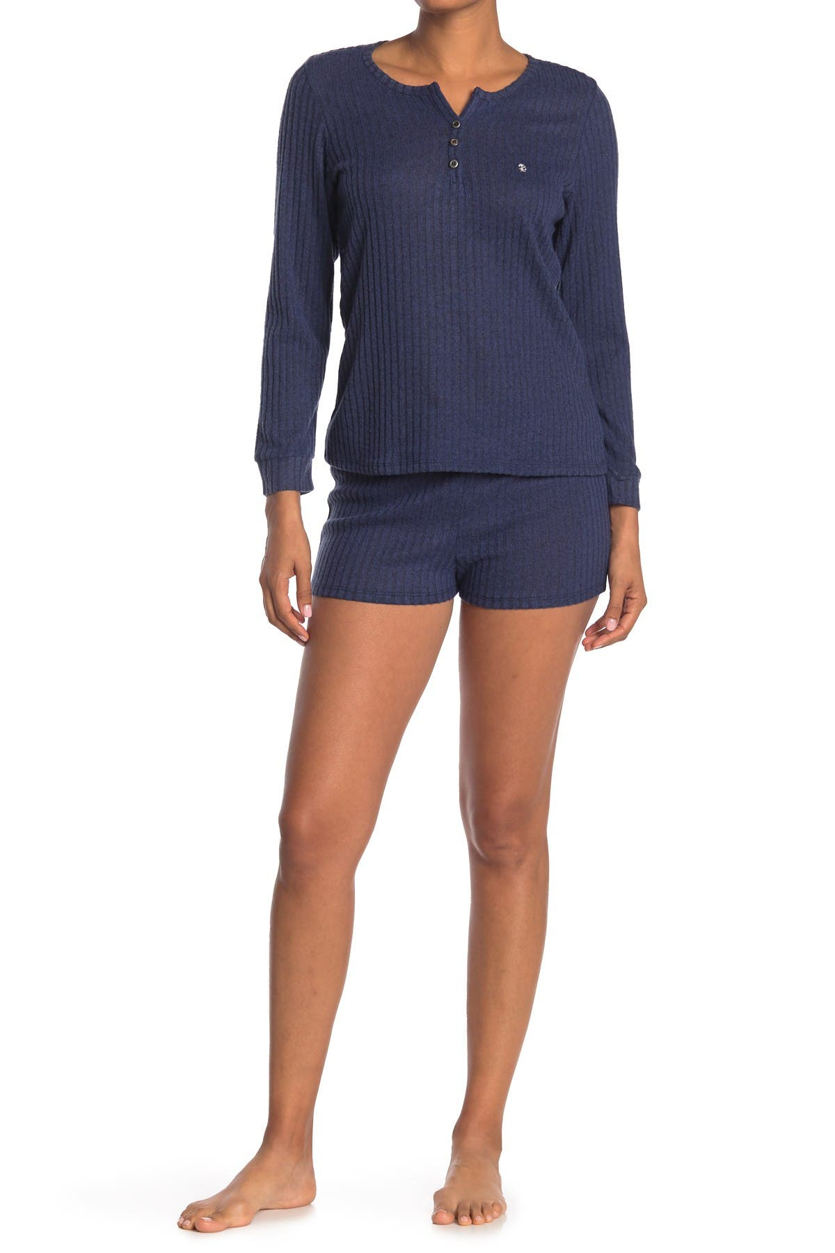 Image of Izod Henley Top & Short 2-Piece Pajama Set