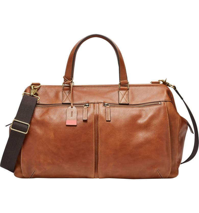 FOSSIL Defender Leather Duffle Bag, Main, color, COGNAC