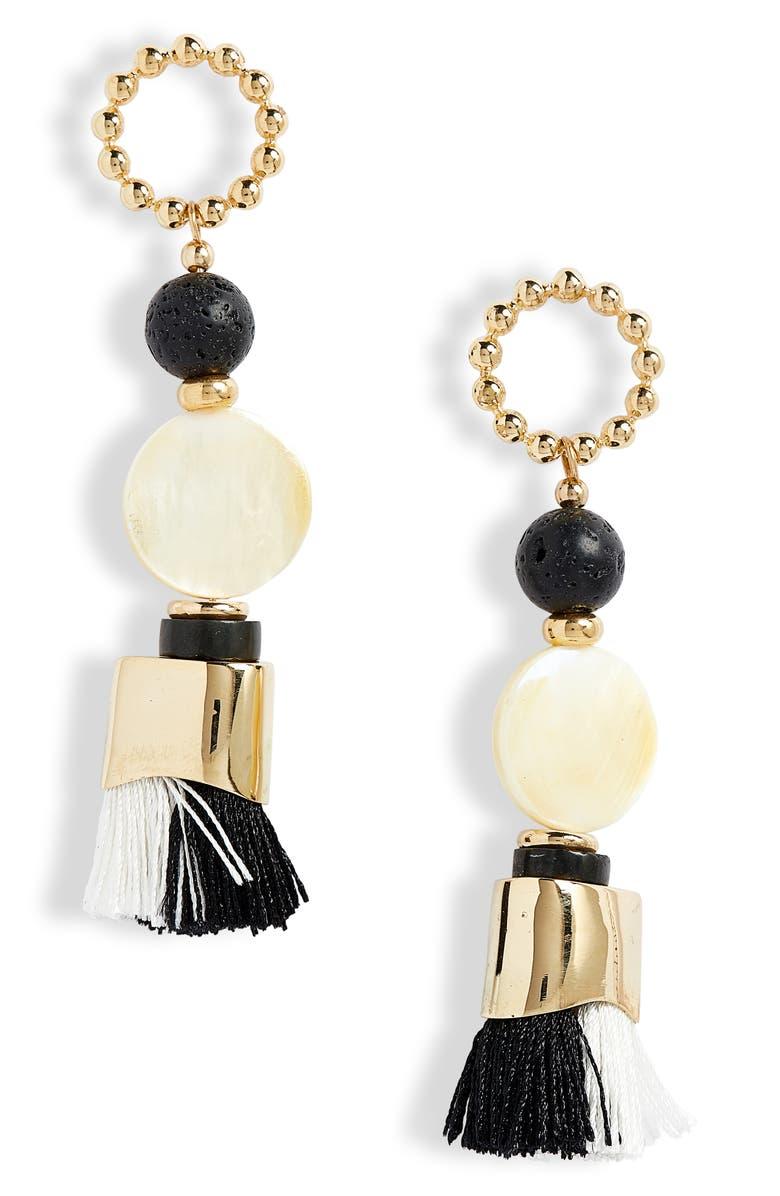 NECTAR NECTAR Agate & Lava Tassel Earrings, Main, color, AGATE AND LAVA GEM/ GOLD