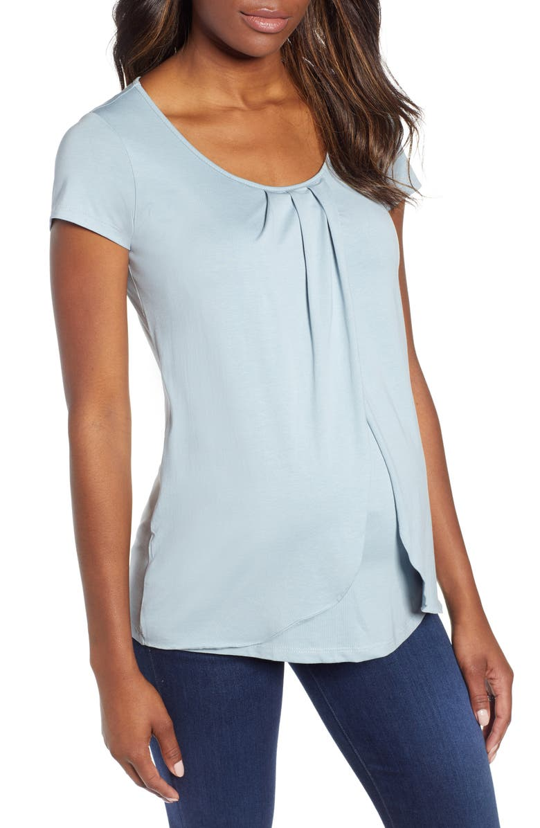 ANGEL MATERNITY Petal Front Maternity Shirt, Main, color, MINT