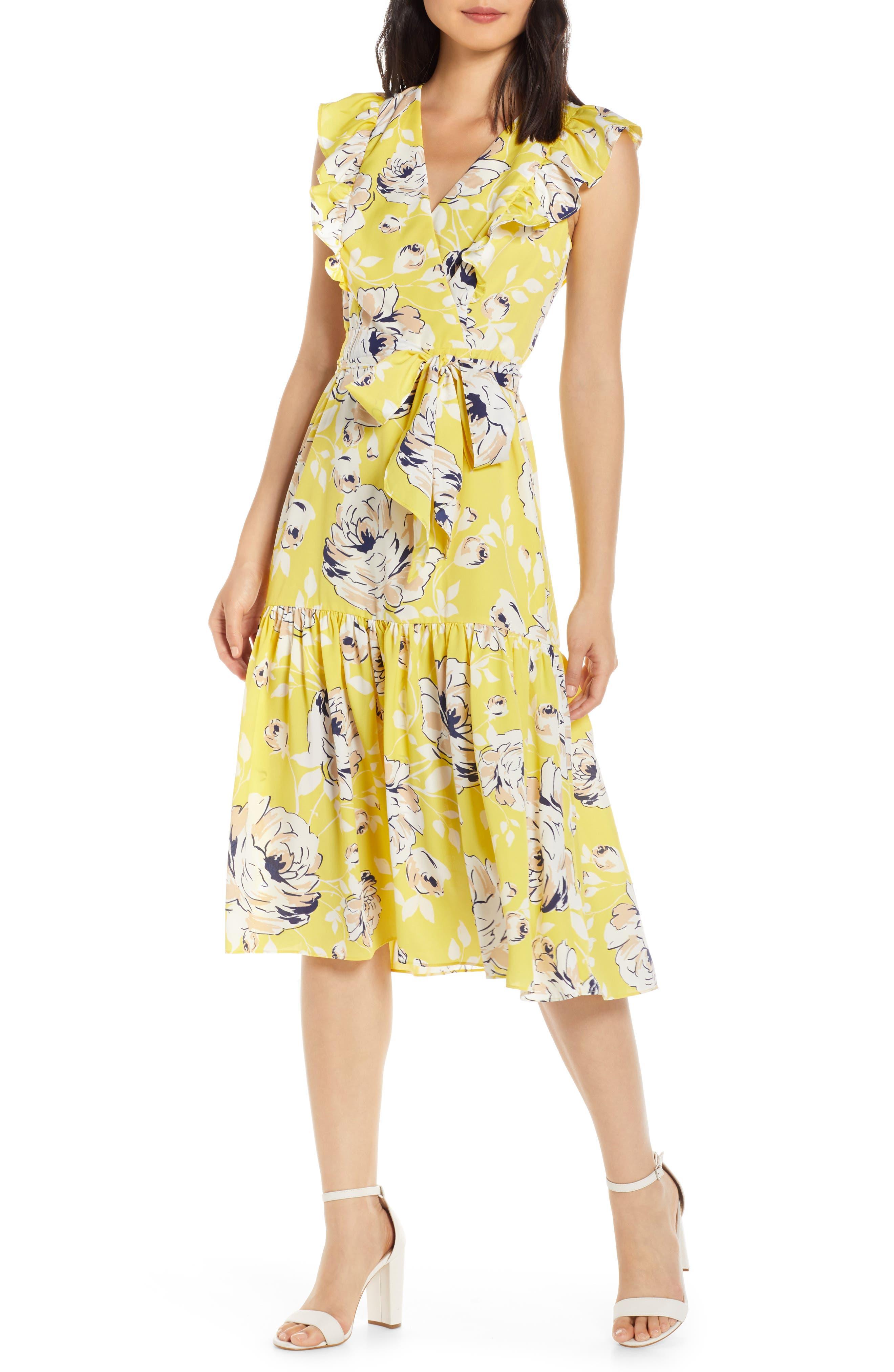 Eliza J Floral Ruffle Detail Crepe De Chine Fit & Flare Dress, Yellow