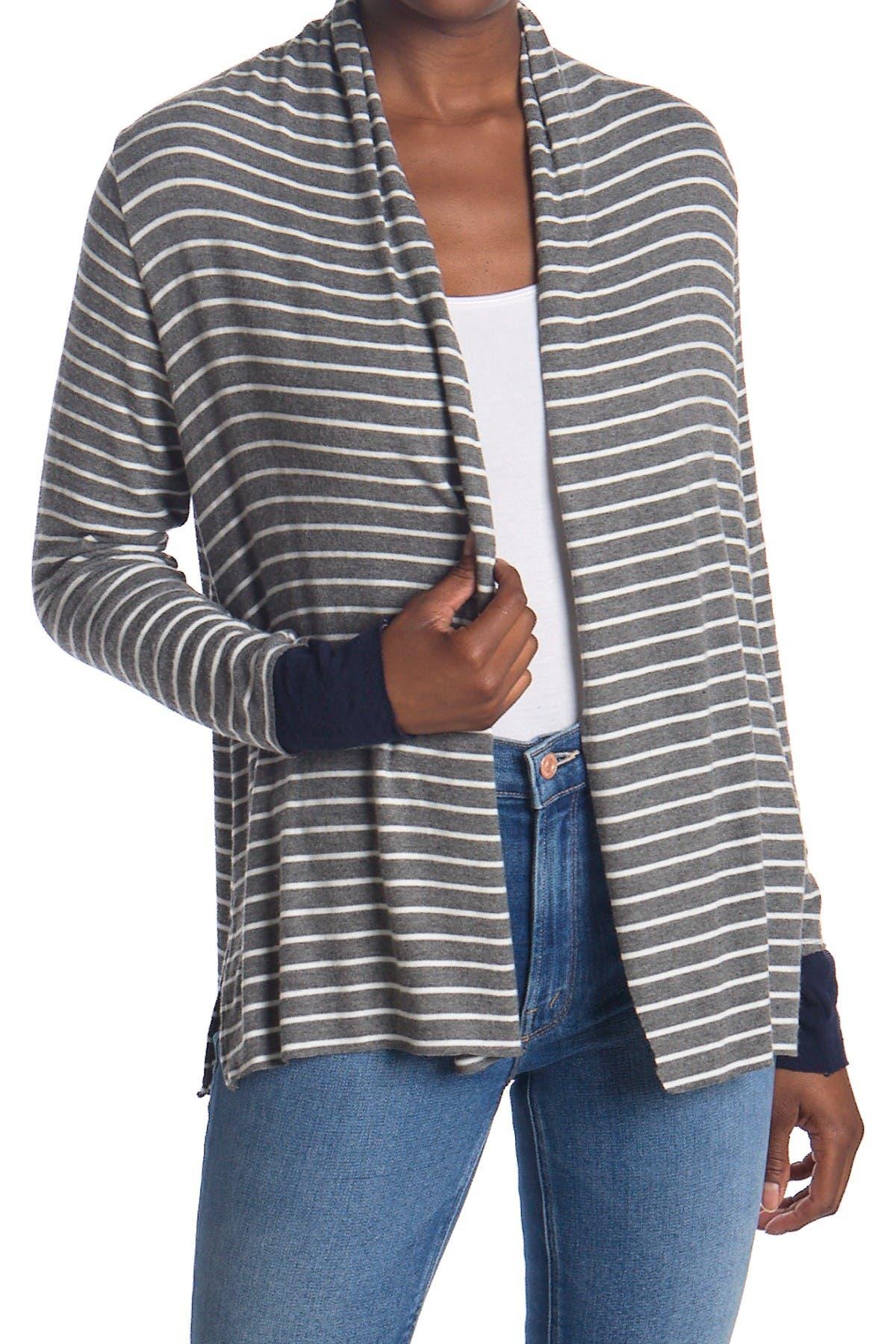 Image of Michael Stars Jessenia Striped Open Front Cardigan